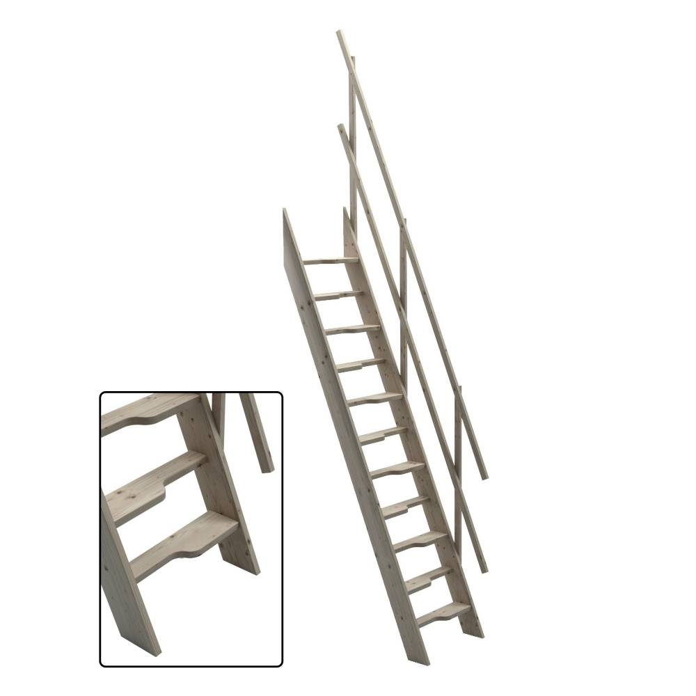 Steep Hill 60 Wooden Staircase Kit Loft Stairs/ladder W 60 Cm Profiled  Paddle Steps ...