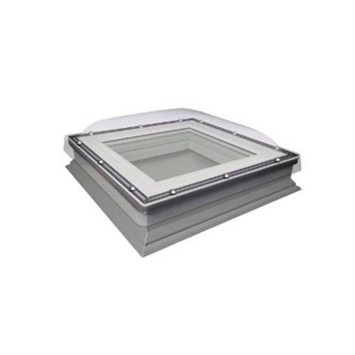 Fakro DXC 90cm x 90cm Fixed Flat Roof Window & Kerb Double Glazed + Dome