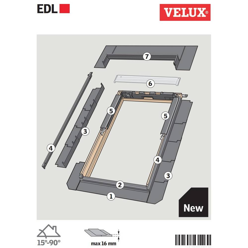 velux edl ck02 single slate flashing 55cm x 78cm sunlux. Black Bedroom Furniture Sets. Home Design Ideas
