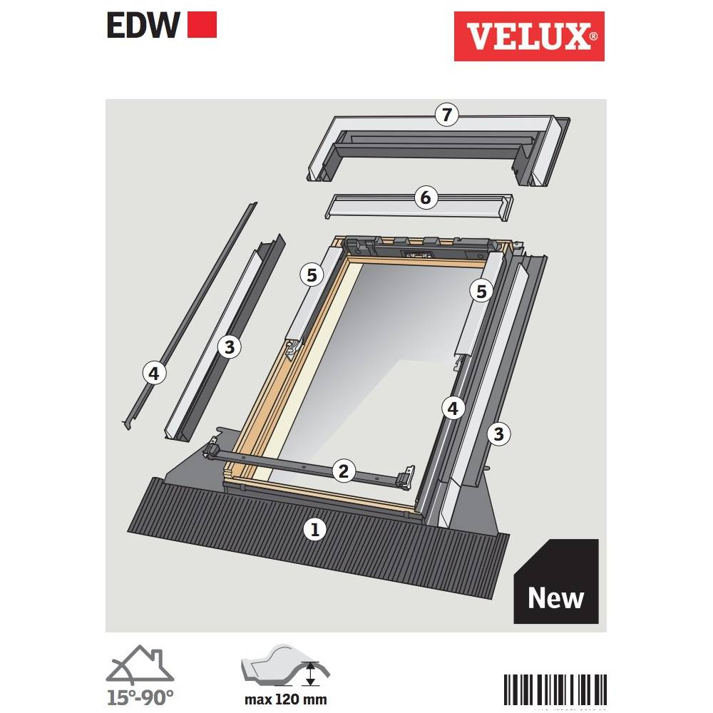 velux edw mk04 single deep profile tile flashing 78cm x. Black Bedroom Furniture Sets. Home Design Ideas