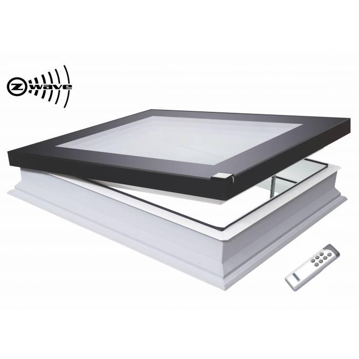 Fakro DEF 70cm x 70cm Electric Flat Roof Window & Kerb Triple Glazed