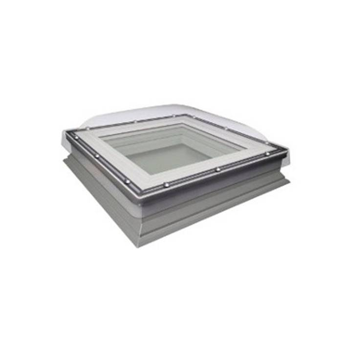 Fakro DXC 100cm x 100cm Fixed Flat Roof Window & Kerb Double Glazed + Dome