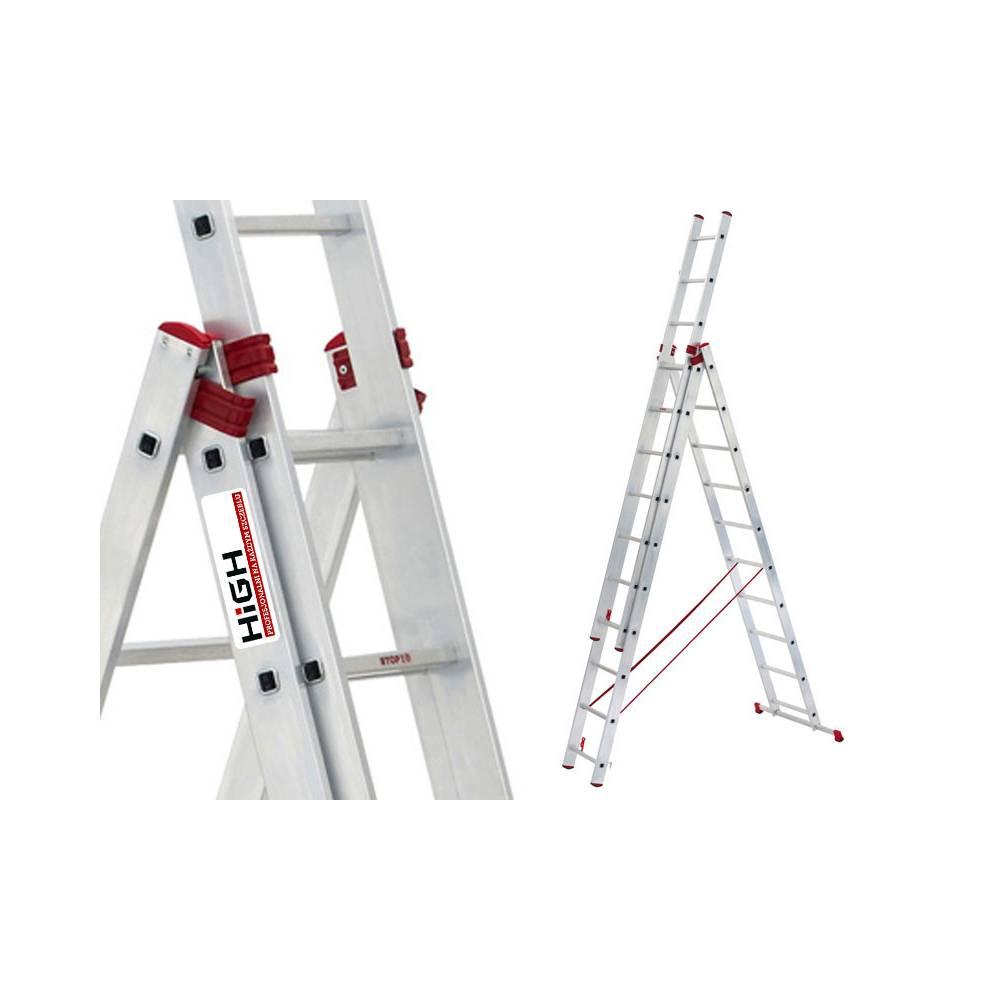 3x7 Triple 3 Section X 7 Rungs Aluminium Ladders Extension