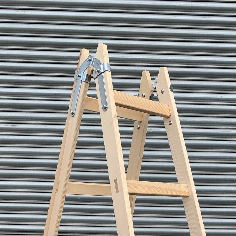 2x 6 Rungs Wooden Ladder Traditional Double Sided Sunlux