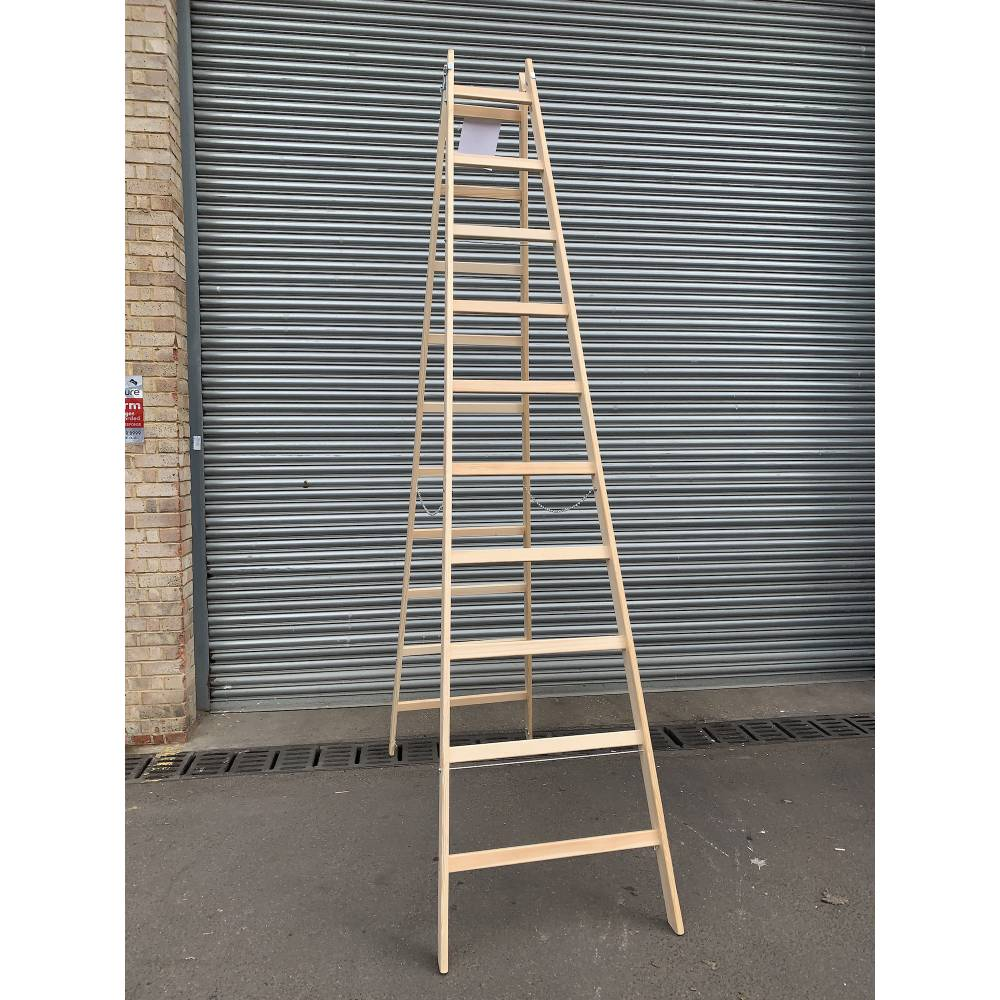 2x 10 Rungs Wooden Ladder Traditional Double Sided Sunlux