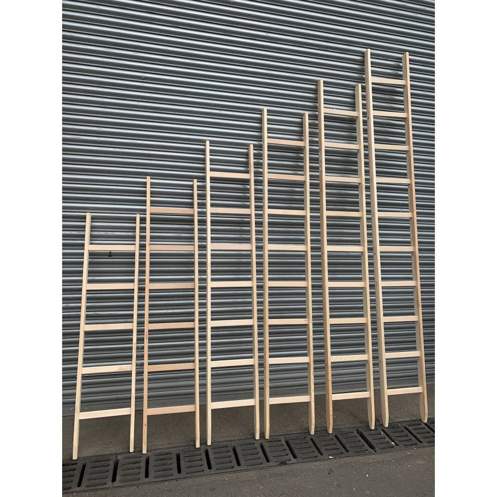 6 Rungs Wooden Ladder Single Traditional Sunlux