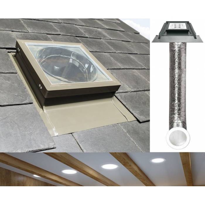 "Fakro SFL Light Tunnel 14"" 350mm with Flexible Tube for Slate Roof"