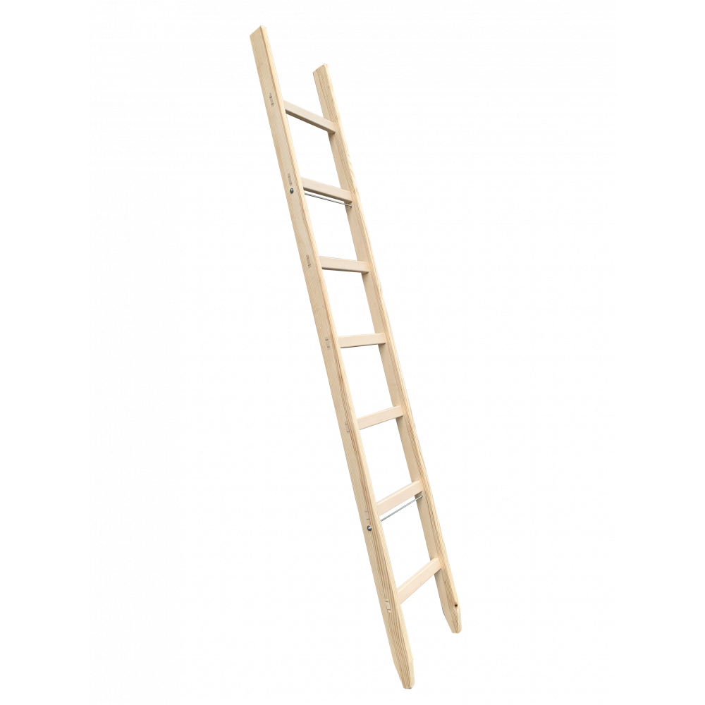 10 Rungs Wooden Ladder, Single, Traditional