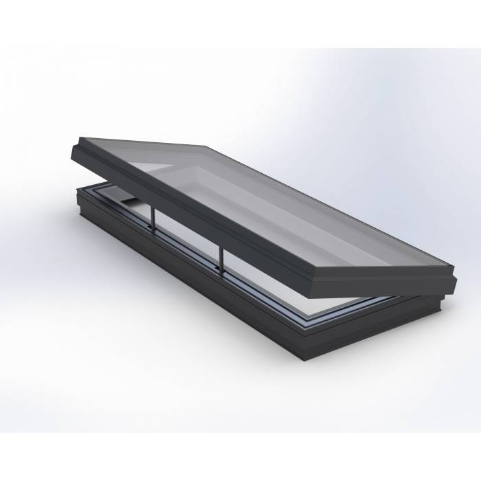 Hinged 100cm x 200cm Flat Glass Rooflight Electric Double Glazed - Flat Roof