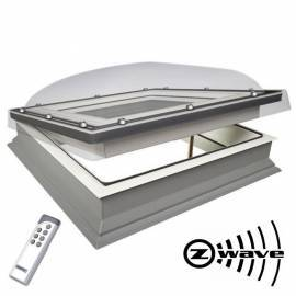 Fakro DEC 90cm x 90cm Electric Flat Roof Window & Kerb Double Glazed + Dome